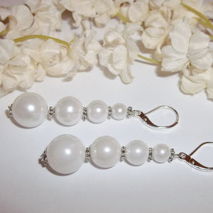 White Pearl Earrings Long Bridal Wedding Jewelry